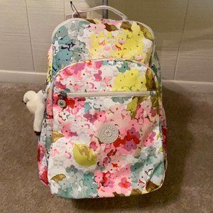 NWT KIPLING LUSCIOUS FLORALS WHITE backpack!
